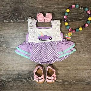 Baby girls Easter egg lavender romper